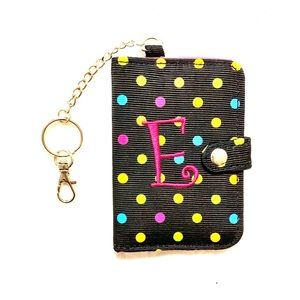 "Accessories - Polka Dot ""E"" Keychain Card Holder"